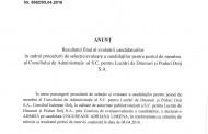 Anunt privind rezultatul final al evaluarii candidatiilor pentru postul de membru al C.A. la S.C. P.L.D.P. Dolj S.A.