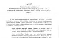 Anunt - Rezultatul selectiei candidatilor pentru postul de membru C.A. al S.C. P.L.D.P. Dolj S.A.