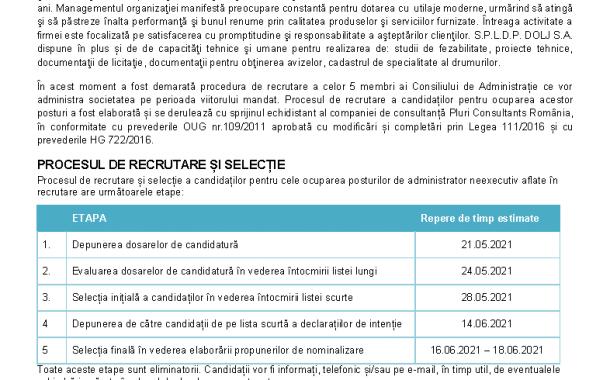 Anuntul si formulare pentru selectie administratori