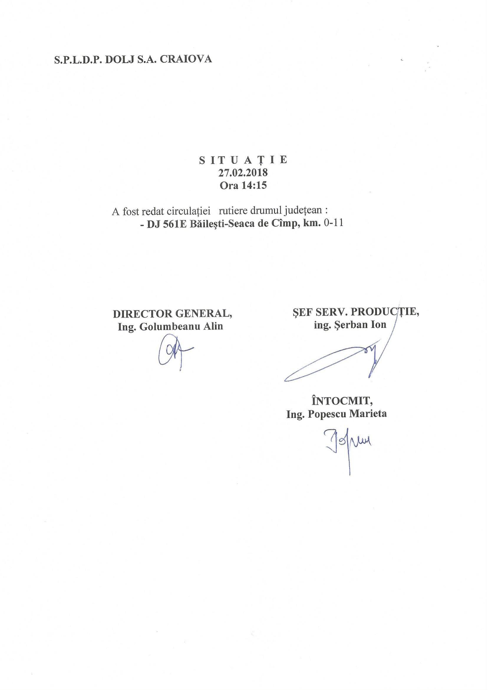 A fost redat circulației rutiere drumul județean DJ 561E, Băilești - Seaca de Câmp, km 0 - 11